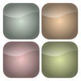 Set aufgerundeter quadratischer Pastell Stripes Ikonen Lizenzfreies Stockbild