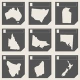 Set of Australia map buttons Royalty Free Stock Photo