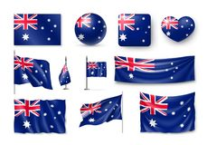 Set Australia realistic flags, banners, banners, symbols, icon. Vector illustration of collection of national symbols on various objects and state signs royalty free illustration