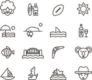 Set of Australia related icons Stock Photos