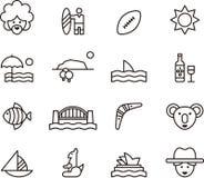 Set of Australia related icons Stock Photos