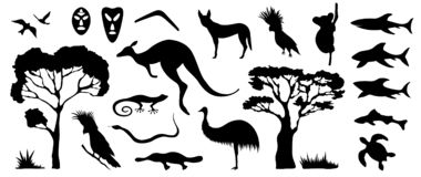 Set of Australian animals and birds silhouettes. The nature of A. Ustralia. Isolated on white background. Black silhouette of trees, kangaroo, masks, sharks stock illustration