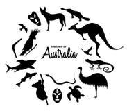 Set of Australian animals silhouettes. The nature of Australia. Isolated on white background. Black silhouette of kangaroo, masks, shark, boomerang, koala vector illustration