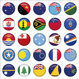 Set of Australian, Oceania Round Flag Icons Stock Photography