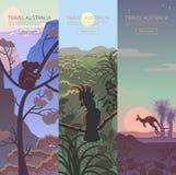 Set of Australian travel posters Royalty Free Stock Photo
