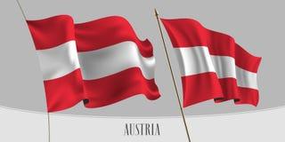 Set Austria falowania flaga na odosobnionej tło wektoru ilustracji royalty ilustracja