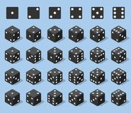 Set 24 authentic icons of dice in all possible turns. Twenty four variants loss dice. Black game cubes isolated on blue. Background. Board games dice in 3D view Royalty Free Stock Images