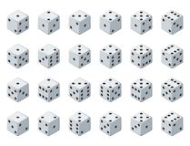 Set 24 authentic icons of dice in all possible turns. Twenty four variants loss dice. White game cubes isolated on white. Background. Board games dice in 3D Royalty Free Stock Photography