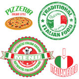 Set of authentic italian food stamp and labels Stock Photos
