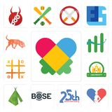 Set of autism, gynecologist, 25th anniversary, bose, teepee, university, tic tac toe, continuous improvement, bloodhound icons. Set Of 13 simple  icons such as Stock Photography