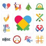Set of autism, tic tac toe, callout, non smoking, bose, healt, 30th anniversary, fantasy baseball, superpower icons. Set Of 13 simple  icons such as autism, tic Stock Photography