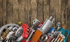 Set auto części na starym zdjęcia royalty free