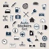 Set of auto icon stickers Stock Photos