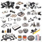 Set of auto parts. A lot of auto spare parts, over white royalty free stock photo