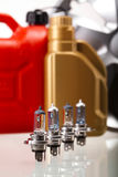 Set of auto parts, car battery on vivid moto concept.  Stock Photography