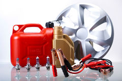 Set of auto parts, car battery on vivid moto concept Royalty Free Stock Photo