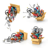 Set it auto parts in the cardboard boxes. Stock Photography