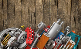 Set of auto parts on the old. Wood background Royalty Free Stock Photos