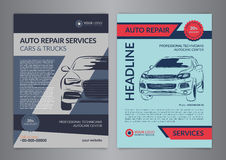 Set auto repair business layout templates, automobile magazine cover, auto repair shop brochure, mockup flyer. Vector illustration Royalty Free Stock Photo