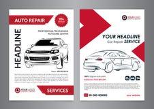 Set auto repair business layout templates, automobile magazine cover, auto repair shop brochure, mockup flyer. Vector illustration Stock Photo