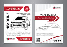Set A4 auto repair business layout templates, automobile magazine cover, auto repair shop brochure, mockup flyer. Royalty Free Stock Images