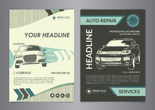 Set A4 auto repair business layout templates, automobile magazine cover, auto repair shop brochure, mockup flyer. Vector illustration Stock Photography