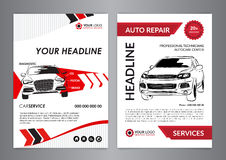 Set A4 auto repair business layout templates, automobile magazine cover, auto repair shop brochure, mockup flyer. Vector illustration Stock Photos