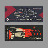 Set of auto repair service banner, poster, flyer. Car service business layout templates. Stock Images