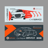 Set of auto repair service banner, poster, flyer. Car service business layout templates. Stock Image