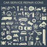Set of auto repair service elements for creating your own infogr. Aphics or maps of the car service station. Vector illustration Royalty Free Stock Photos