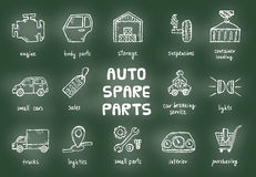 Set of auto spare parts. Royalty Free Stock Photo