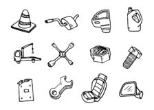 Set of auto spare parts. Car recyclers and scarp breaker icons i stock illustration