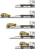 Set of auto transporter and car isolated on white background in flat style in different positions. Vector illustration. Stock Image