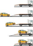 Set of auto transporter and car  on white background in flat style in different positions. Vector illustration. Detailed illustration of auto transporter and Royalty Free Stock Images