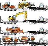 Set of auto transporter and heavy construction machines isolated on white background in flat style in different. Detailed illustration of car auto transporter Stock Photos
