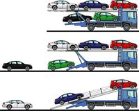 Set of auto transporters isolated on white background in flat style in different positions. Vector illustration. Royalty Free Stock Image