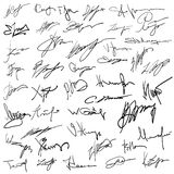 Set of autographs Royalty Free Stock Photos