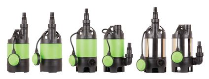 Set of automatic drainage pumps with float for pumping water from flooded rooms, bore holes, basements. Isolated white. Set of automatic drainage pumps with royalty free stock images