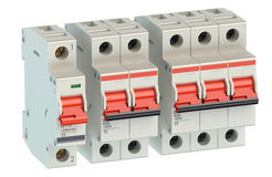 Set of automatic electricity switches Stock Photo