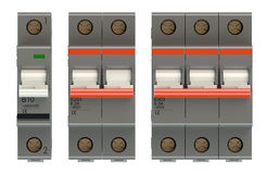 Set of automatic electricity switches Stock Image