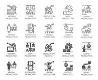 Automatic and manual production buttons. Set of icons in line and glyph designs. Outline and black flat labels. Set of automatic and manual production buttons vector illustration