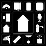 Set automatyzacja, nasadka, czujnik, pilot, panel, Doorknob, dom ilustracja wektor