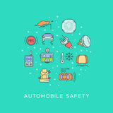 Set of automobile safety equipment. Cars safety line icons set circular shaped. Automobile items. Thin line art design Royalty Free Stock Photos