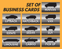 Set of automotive business card with different car bodies Royalty Free Stock Photo