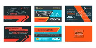 Set of Automotive repair Service business cards layout templates Royalty Free Stock Photos