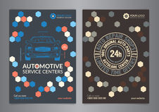 Set Automotive Service Centers business layout templates. A5, A4 auto repair shop Brochure templates, automobile magazine cover. Set Automotive Service Centers Stock Images