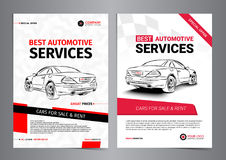 Set of AUTOMOTIVE SERVICES layout templates, cars for sale Stock Image