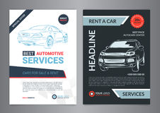 Set of AUTOMOTIVE SERVICES layout templates, cars for sale Royalty Free Stock Image