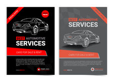 Set of AUTOMOTIVE SERVICES layout templates, cars for sale Royalty Free Stock Photography