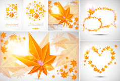 Set of Autumn abstract backgrounds. Set of Autumn leaves abstract backgrounds Royalty Free Stock Photography